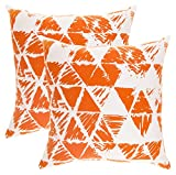 TreeWool (Pack of 2 Decorative Throw Pillow Covers Geometric Triangle Accent 100% Cotton Cushion...