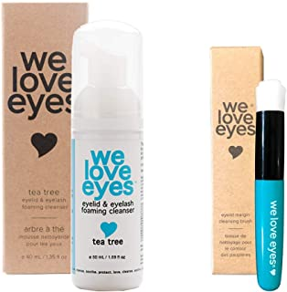 All Natural Tea Tree Eyelid Foaming Cleanser/Wash with Eyelid Margin Brush - We Love Eyes - Care for lids with lash extensions installed, Wash Eyelashes, Reduce Itching Inflammation Redness - 50ml