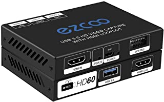 USB3.0 HD Video Capture with HDMI Loopout 4K 60Hz 4:4:4 EDID DIP Switch - USB3.0 stream 1080p 60Hz, Stereo Audio,HDMI Down...