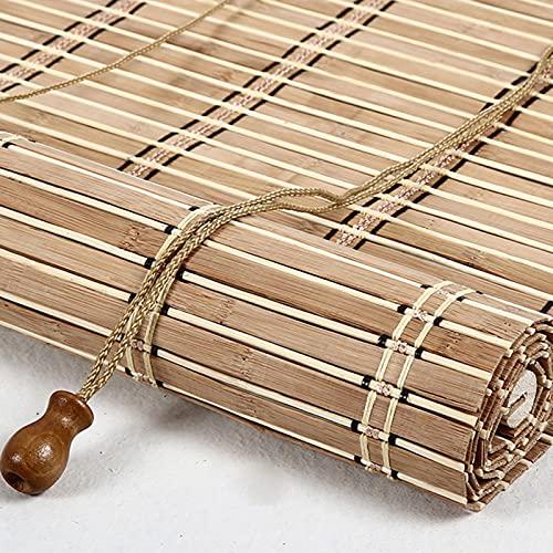 Persiana enrollable de bambú de estilo retro Estores de bambú Rollo bambú Ventanas natural Bamboo Blind para Ventana protector solar para ventanas y puertas Sombrilla,Personalizable (60 x 100 cm)