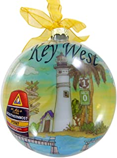 Key West Ornament Christmas Tree Decoration Souvenir of Florida with Ribbon, 4 1/2 Inch