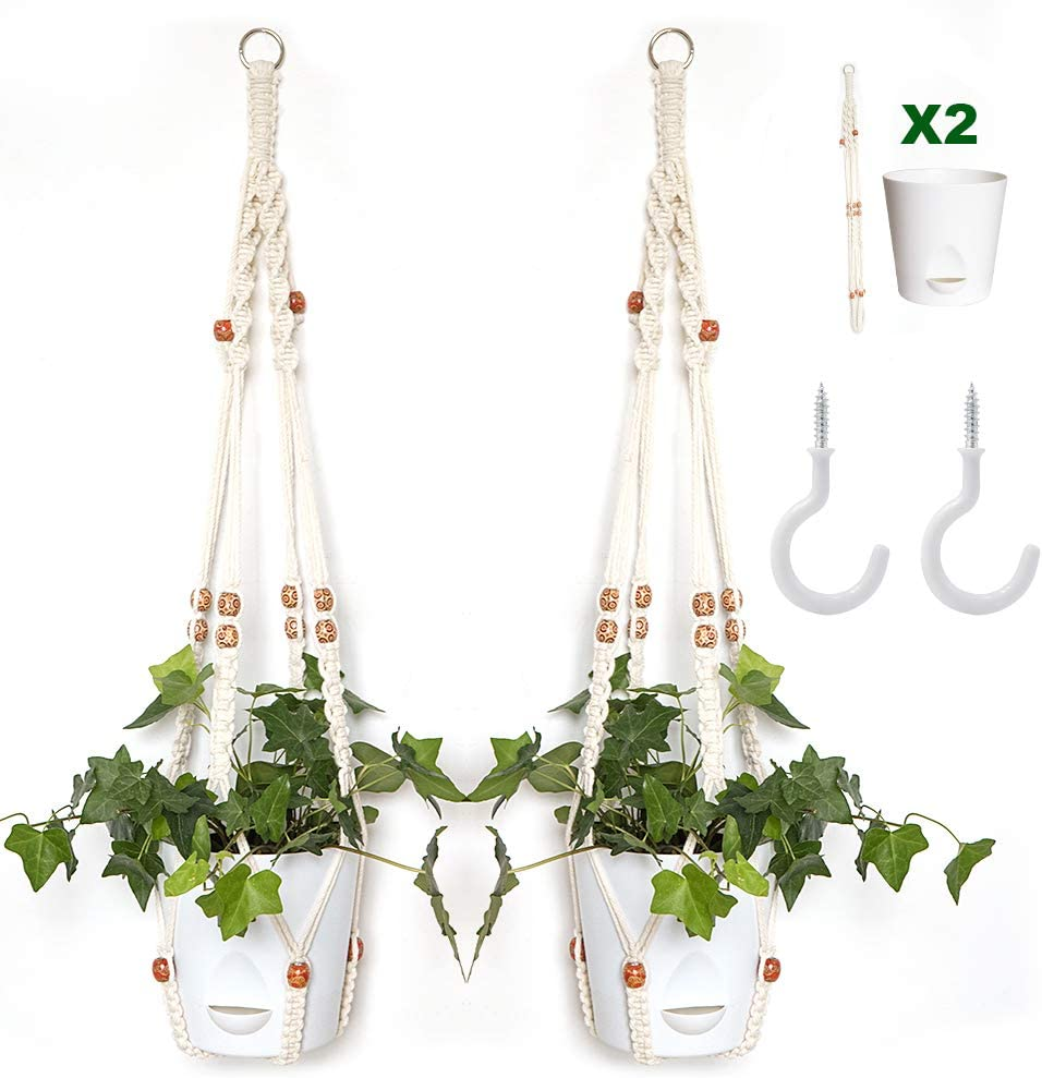 Hoobbii Over item handling ☆ 2 Pack Macrame Plant Hangers Overseas parallel import regular item P Self Planter and Watering