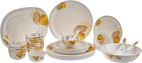 Servewell Melamine Moonlight Leaves Design - Set of 44,White