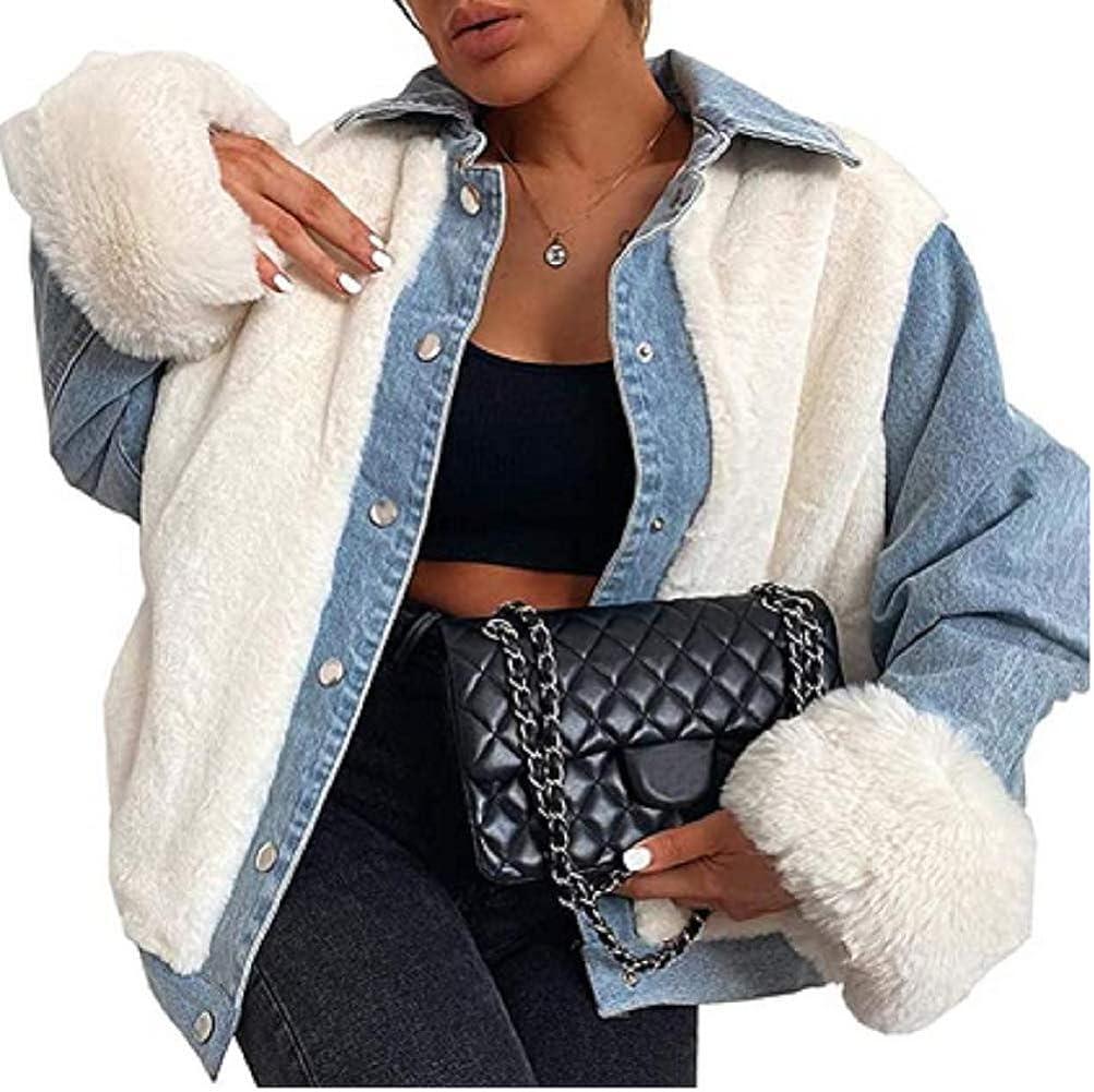 Women Plush Denim Jacket, Winter Adults Fleece Denim Winter Coat Long Sleeve Lapel Patchwork Outerwear with Pockets
