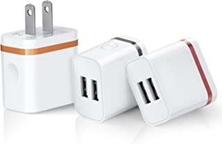 USB Plug Charger, 3 Psc Colorful Wall Charger Dual USB Ports Power Universal Home Charger Magic-T 10W 2A Portable Fast Charging Adapter for iPhone 6/7 Plus, iPad, Samsung, Tablet (Orange/Gray/Silver)