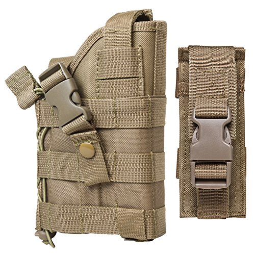 M1SURPLUS Tan MOLLE Compatible Holster with Free Magazine Carrier Pouch/The Holster Fits Hk USP P2000 VP9 VP40 S&W M&P MP40 MP9 Beretta 92 96 PX4 PX9
