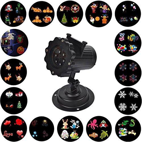 Navidad Proyector Luz,KINGCOO Impermeable LED Paisaje Spotlight Lámpara Efecto de Luz con 16 Reemplazable Diapositivas para Interiores al Aire Libre Halloween Fiesta de Cumpleaños,Malas Hierbas