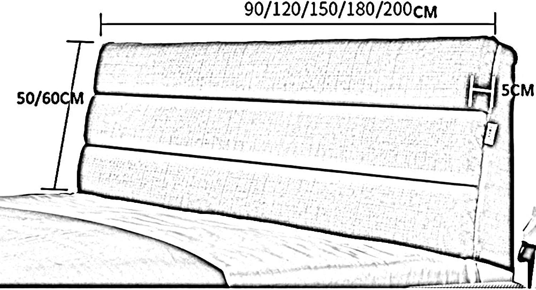 JTWJ Lit double grand dossier Canapé de chambre Coussin lombaire Oreiller en tissu moelleux Polyvalent, détachable et lavable, 6 couleurs, 9 tailles disponibles (Couleur     2, taille   180  60cm)