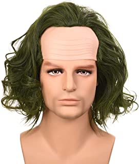 Wigs for Men Short Bald Green Curly Clown Cosplay Halloween Costume Party Heat Resistant Synthetic Wig