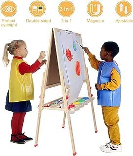 Kids 3 in 1 Wooden Art Easel, Multi-functional Adjustable Double Side Kids Painting Board Blackboard Whiteboard Chalkboard Magnetic Letter Drawing Board Stand for Children with Paper Roll Holder (#1)