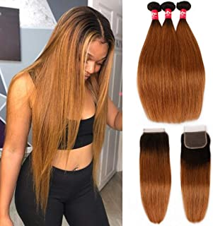 Haha Ombre Brazilian Straight Hair 3 Bundles with Closure 8A Ombre Hair Bundles With Closure 2 Tone T1B/30 Black to Medium Auburn Human Hair Weave Bundles with Lace Closure 14 16 18+12