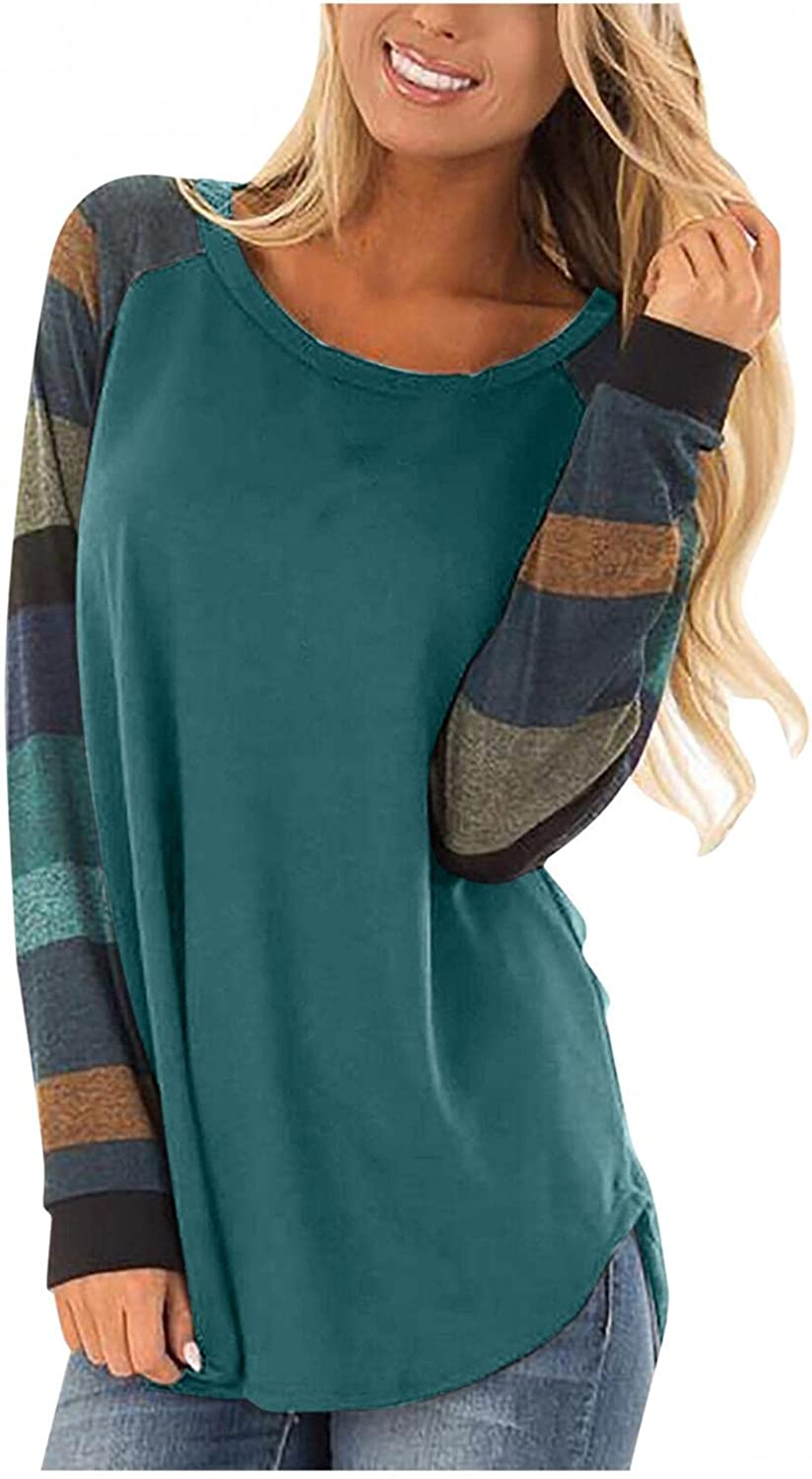 AODONG Long Sleeve Shirts for Women Loose Fit, Womens Color Block Tunic Tops Casual Round Neck Plus Size Shirt Blouses