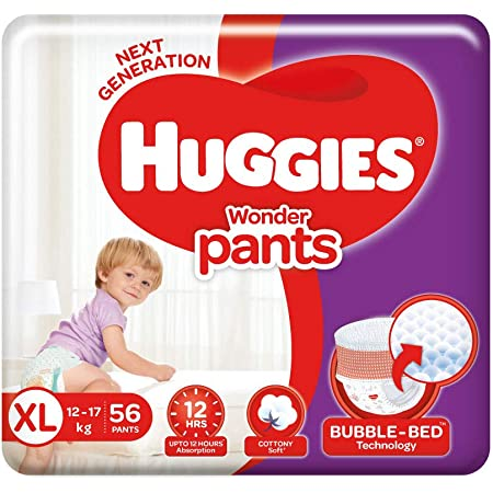 Huggies Wonder Pants Extra Large (XL) Size Baby Diaper Pants, 56 count, with Bubble Bed Technology for comfort