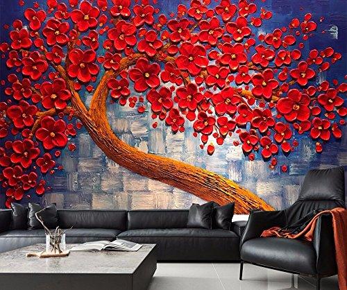 Yosot aangepaste achtergrondfoto's Home decoratieve wandafbeeldingen rode bloemen Make Money Tree olieverfschilderij TV sofa achtergrond Wall 3D behang 450 cm x 300 cm.