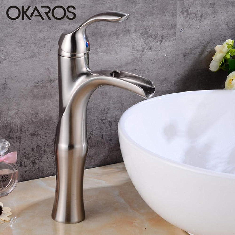 CZOOR Klassische Wasserfall Bad Waschbecken Wasserhahn Nickel Gebürstetem Messing Elegante Wasser Waschtischarmatur
