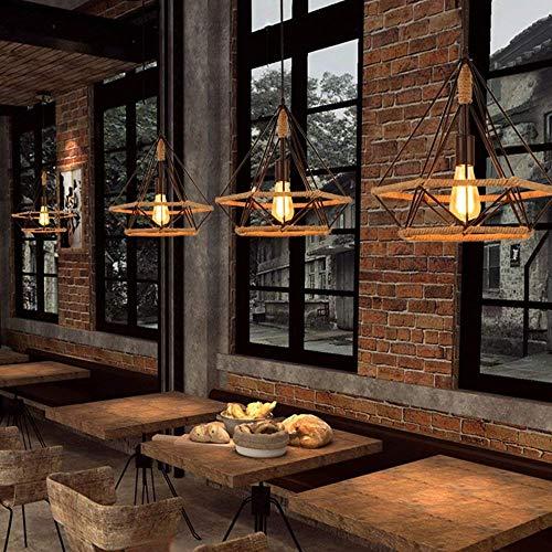 Gymqian Lámpara de Techo Lámpara de Araña Industrial Vintage Hierro Forjado Personalidad Creativa Lámpara de Araña Cordón de Diamantes de Moda para Bar Cafe Loft Terraza Pasarela Co