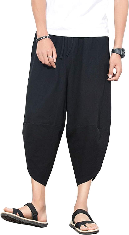 Flygo Mens Casual 3D Printed Loose Baggy Linen Capris Boho Harem Pants