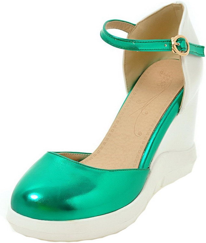AllhqFashion Women's Buckle High-Heels Pu Assorted color Sandals, FBULD013262