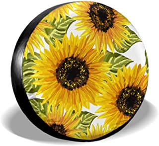 ENEVOTX Beautiful Seamless Pattern Sunflowers On White Manual Tire Cover Car Tire Wheel Cover Tire Cover Waterproof Uv Sun 14 - 17 Fit for Jeep Trailer Rv SUV and Many Vehicle