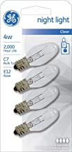 GE Night Light Bulb Standard, 4 Watt, Clear 4 ea (Pack of 5)