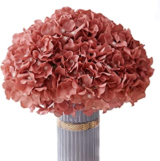 Atinart Dusty Rose Artificial Flowers Hydrangea Silk Flowers Full Artificial Hydrangea Heads Pack of 10 for Home Wedding P...