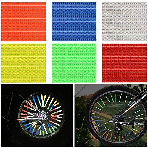 Etmury 72 PCS 6 Farben Speichenreflektoren Fahrrad Reflektoren Speichenreflektoren Spezialschlauch Sprach Reflektor Reflektierende Mount Clip