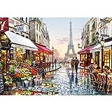 CofunKool Jigsaw Puzzles París Flor Calle Torre Eiffel 1000 Piezas Puzzle para Adultos, Multicolor, 70 x 50 cm