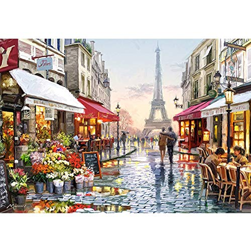 CofunKool Jigsaw Puzzles Parigi Strada Torre Eiffel 1000 Pezzi Puzzle da Adulti, Multicolore, 70 x 50 cm
