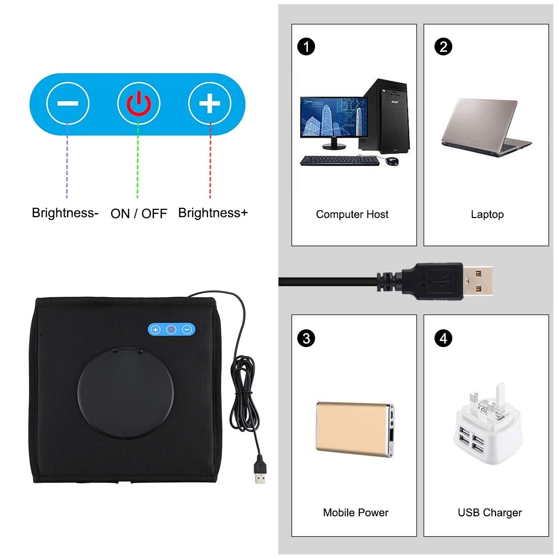 PULUZ Mini Photo Studio Light Box, Photo Shooting Tent kit, Portable Folding Photography Light Tent kit with CRI >95 96pcs LED Light + 6 Kinds Double- Sided Color Backgrounds for Small Size Products