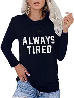 Womens T-Shirt Casual Long Sleeve Crewneck Letter Print Loose Shirts Blouse T-Shirt