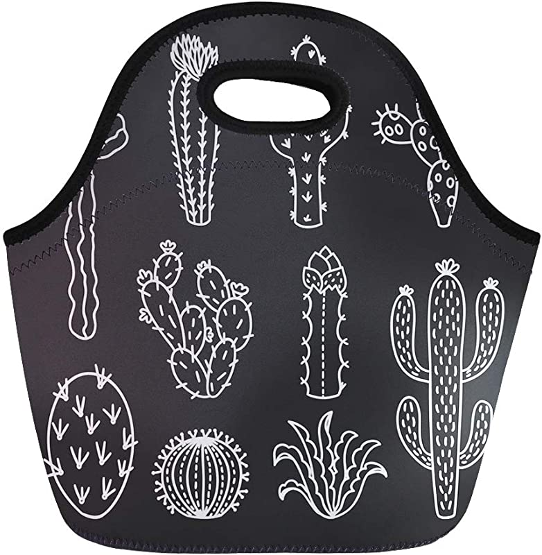 Semtomn Lunch Tote Bag Green Aloe Cute Cactus Outline Cacti And Succulents Drawings Reusable Neoprene Insulated Thermal Outdoor Picnic Lunchbox For Men Women