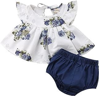 Newborn Baby Girl Floral Ruffle Sleeveless Dress Top Short Pants Outfits Summer Clothes Set 2 Pcs