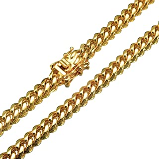 Jewelry Kingdom 1 Chain Necklace Cuban Link Chain Gold Miami Necklace Stainless Steel Necklace for Men's Jewelry, 6MM,18-3...