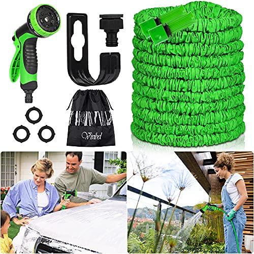 Vivibel Gartenschlauch 30M Wasserschlauch - Latex Flexible Schlauch, Flexibler Gartenschlauch mit 10 Funktion Handbrause, Wandmontage Knickfrei Wasserschlauch für Autowäsche, Gartenbewässerung, Yard