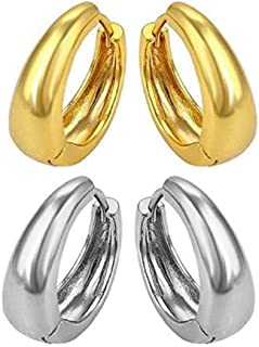 MEENAZ Mens Valentine Stainless Steel Multicolor Silver Gold Piercing Salman Kaju Clip on Bali Stud Ear rings Earing Pierc...