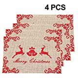 Awtlife 4 manteles individuales de yute de Navidad, ideales para fiestas de Navidad