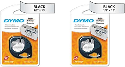 DYMO LetraTag Self-Adhesive Multi-Purpose Label Tape, 1/2-inch, 13-foot Cassette, Black Print on Metallic Silver (1743603), 2 Packs