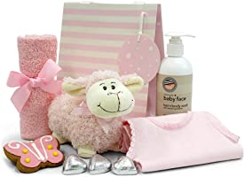 Newborn Baby Girl Gift with Plush Lamb Toy, Baby Body Wash, Facewasher, Singlet, Chocolate Hearts, Cute Gingerbread...