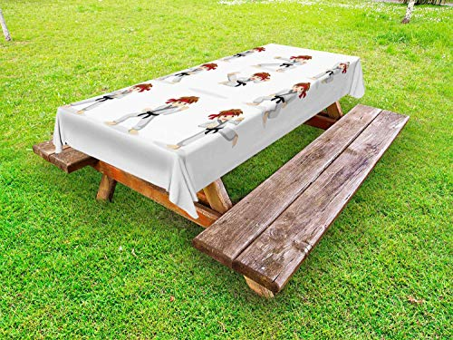 LIS HOME Karate Outdoor Tischdecke, Martial Arts Performer Boy Cartoon in verschiedenen Kampfposen, dekorative waschbare Picknicktischdecke, Beige Vermilion Pale Taupe Caramel