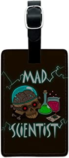 Mad Scientist with Beakers Brain Rectangle Leather Luggage Card Carry-On ID Tag