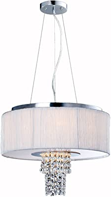 Artiva USA A501105PCW Modern, Comtemporary Adrienne 6-Light Crystal Chandelier with Plisse Fabric Shade
