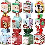 Cajas de Dulces Navideños 24pcs Cajas de Dulces Navideñas Cajas Presentes Cajas de Regalo de Favor de Fiesta de Bricolaje para Dulces de Cupcake de Navidad Bolsa de Favor de Fiesta de Niños