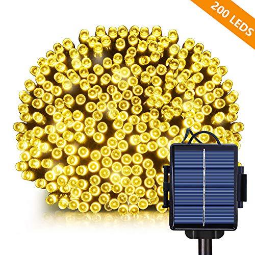 2 in 1 Solar Lichterkette Außen, Opard 22M 200 LED IP65 Wasserdicht Solar Außenlichterkette mit 8 Modi, Außen und Innen Dekoration für Haus, Weihnachten, Garten, Terrasse, Hochzeit, Party (Warmweiß)