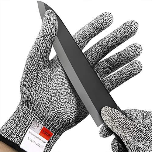 Veilige snijbestendige handschoenen beschermingsniveau 5 voor keuken, mandoline snijden, visfilet, oesterschillen, vleessnijden en houtsnijden. Small zwart