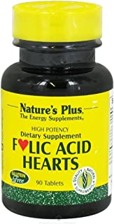 NaturesPlus Folic Acid Hearts (Methylfolate) - 400 mcg, 90 Vegetarian Tablets - with Vitamin B6 & Vitamin B12 (as Methylcobalamin) - Gluten-Free - 90 Servings