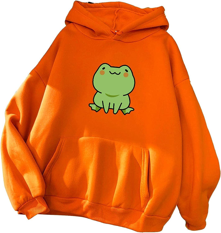 Hotkey Pullovers for Women, Women's Kawaii Drawstring Hoodies Cartoon Frog Printed Hooded Active Tops Sweatshirts