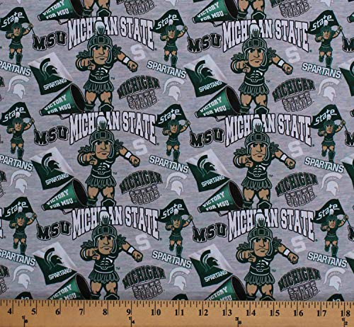 Cotton Michigan State University MSU Spartans Sparty Mascot Logos Allover on Gray College Sports Team Digital Print Cotton Fabric Print by The Yard (MIST-1164)