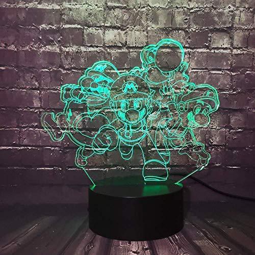 3D Illusion Night Light RGB LED 7 & 16M APP Bluetooth a colori Classico Super Mario Yoshi Fratello Luigi Rospo Effetto famiglia Utili bambini amici regali di festa