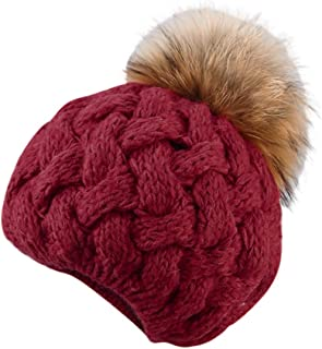 Women Winter Beanie Hat Cable Knit Foxes Hairball Cap Slouchy Chunky Thick Skull Ski Cap Solid Earmuff Hat