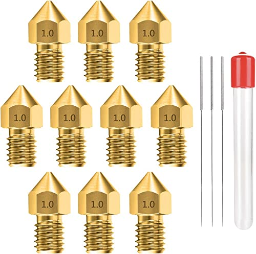 1.0MM MK8 Ender 3 Nozzles 10 pcs 3D Printer Brass Nozzles Extruder for Makerbot Creality CR-10 with 3 Needles and Met...